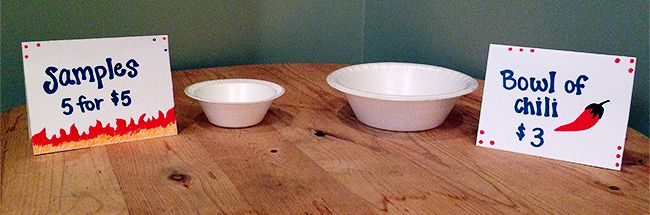 chili sizes sample and bowl
