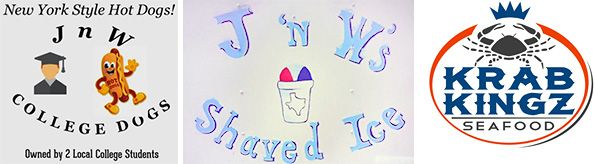J 'n W's College Dogs and Shaved Ice, plus Krab Kingz Seafood