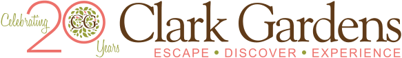 Clark Gardens logo - Celebrating 20 Years